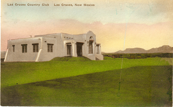 The Las Cruces Country Club Clubhouse, as seen in an early postcard, was recently saved from the wrecking ball when it was discovered by the MVP to be an early Trost & Trost design.